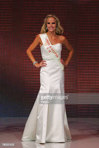 Miss United States Abigail McCary participates in the 57th Miss World final contest at the Beauty Crown Theatre on December 1 2007 in Sanya of Hainan...