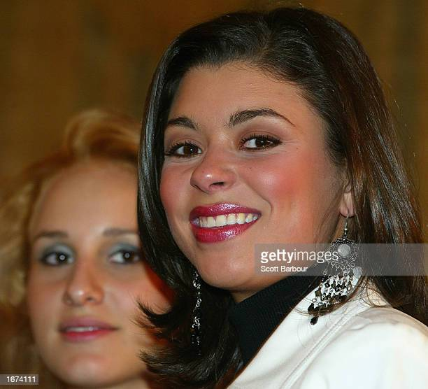 Miss United States Rebekah Revels attends a Miss World press conference December 5 2002 in London The Miss World competition was moved from its...