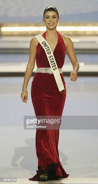 Miss United States Rebekah Revels is introduced on stage during Miss World 2002 December 7 2002 in London The Miss World competition was moved from...