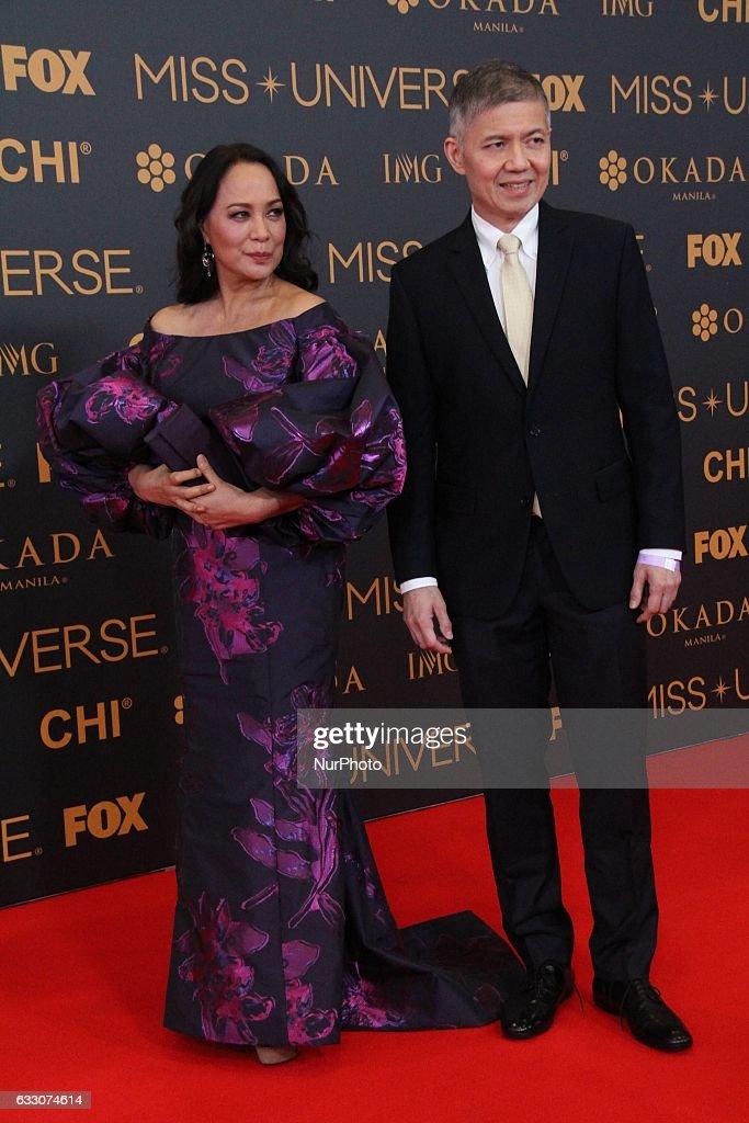 Miss Universe 1969 Gloria Diaz attends a red carpet event a