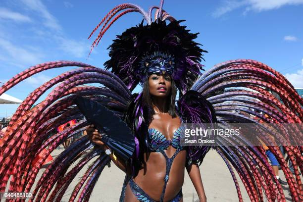 Miss Universe 1998 Wendy Fitzwilliam masquerades with Harts mas band presenting 'Ultra Violet Jungle' during Trinidad Carnival 2017 at the Queen's...