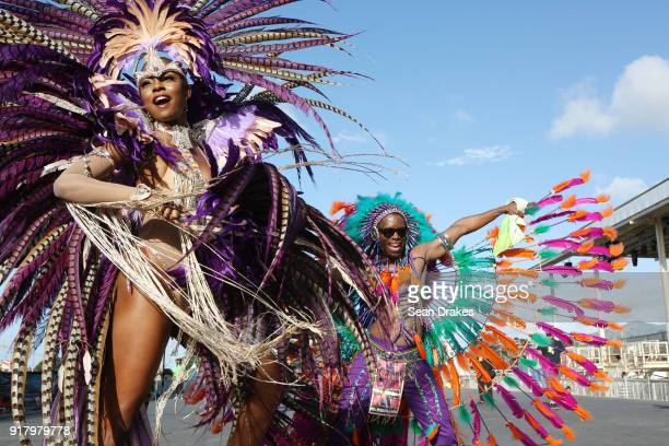 Miss Universe 1998 Wendy Fitzwilliam performs with the mas group Harts Carnival during the presentation of the band titled 'Shimmer and Lace' as part...