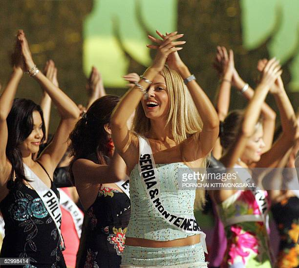 Miss Universe 2005 contestant Miss Serbia & Montenegro Jelena Mandic dances during rehearsal in Bangkok, 30 May 2005. The reigning Miss Universe,...