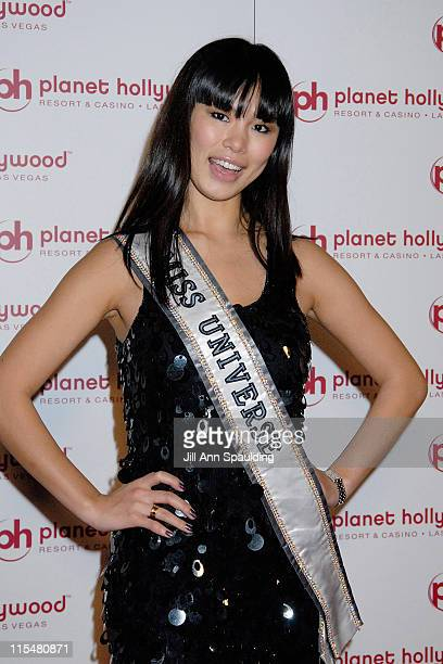 Miss Universe 2007 Riyo Mori arrives at Jon Stewart's performance at Planet Hollywood Resort Casino's Grand Opening Weekend on November 16 2007 in...