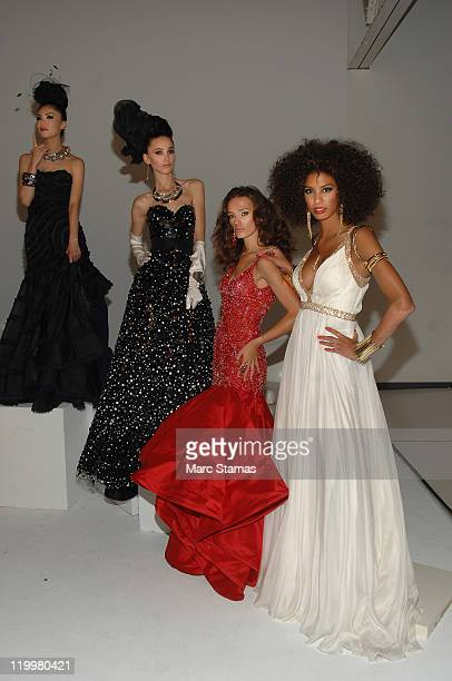 Miss Universe 2007 Riyo Mori Miss Kosovo 2009 Marigona Dragusha Miss Kosovo 2008 Zana Krasniqi and Miss France 2009 Chloe Mortaud attends a Miss...