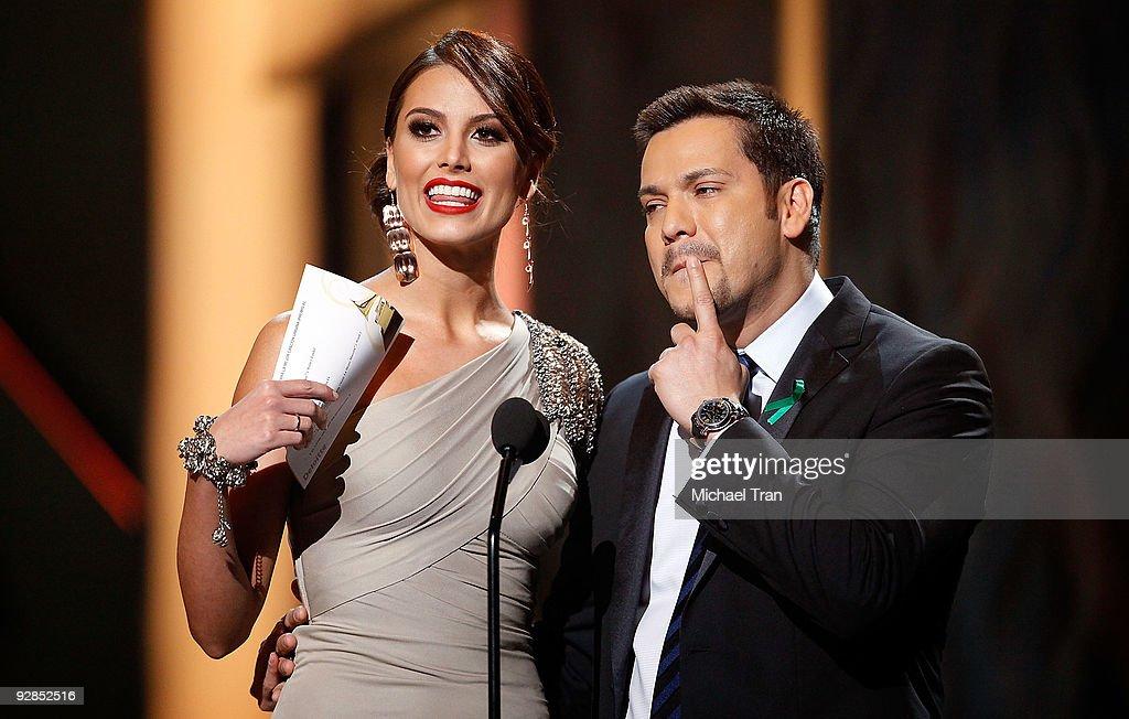 Miss Universe 2009 Stefania Fernandez (Left) of Venezuela speaks onstage at the 10th Annual Latin Grammy Awards held at Mandalay Bay on November 5, 2009 in Las Vegas, Nevada.