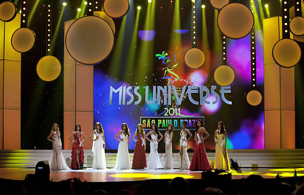 Miss Universe 2011 top ten contestants stand on stage during the 60th annual Miss Universe beauty pageant at the Credicard Hall in Sao Paulo on...