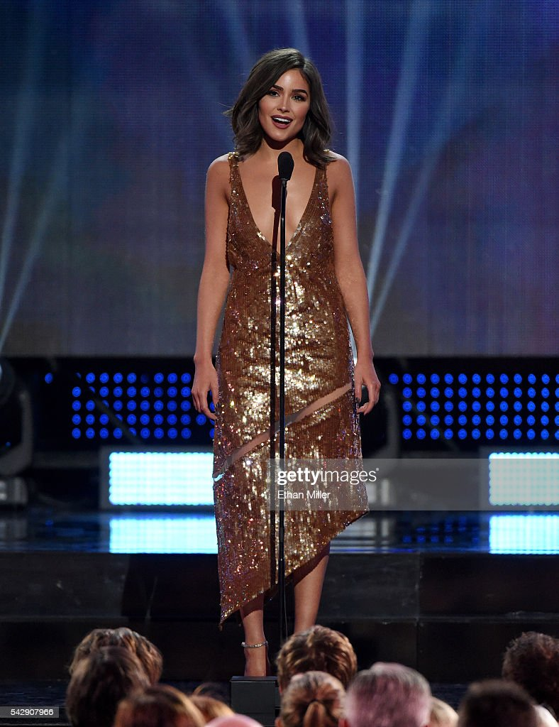 Miss Universe 2012 Olivia Culpo presents the Lady Byng Memorial Trophy during the 2016 NHL Awards at The Joint inside the Hard Rock Hotel & Casino on June 22, 2016 in Las Vegas, Nevada.