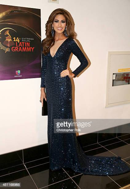 Miss Universe 2013 Gabriela Isler arrives at the 14th Annual Latin GRAMMY Awards held at the Mandalay Bay Convention Center on November 21, 2013 in...