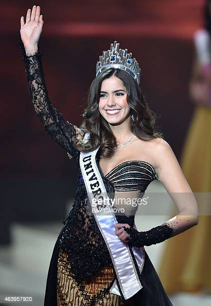 Miss Universe 2014 Columbia's Paulina Vega waves to the audience during the grand final of the Miss Indonesia 2015 beauty contest in Jakarta on...