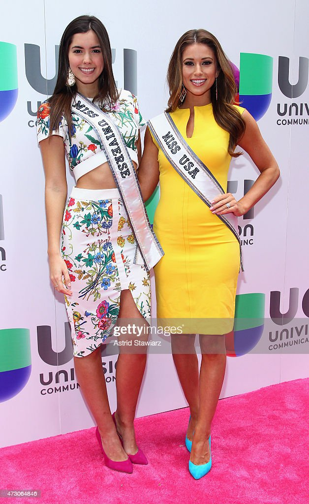 Miss Universe 2014 Paulina Vega and Miss USA Nia Sanchez attend Univision's 2015 Upfront at Gotham Hall on May 12, 2015 in New York City.