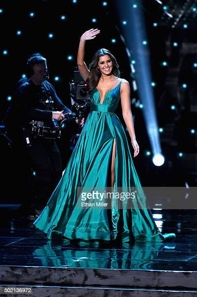 Miss Universe 2014 Paulina Vega appears onstage during the 2015 Miss Universe Pageant at The Axis at Planet Hollywood Resort Casino on December 20...