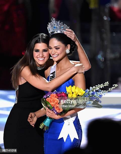Miss Universe 2014 Paulina Vega crowns Miss Philippines 2015 Pia Alonzo Wurtzbach the 2015 Miss Universe during the 2015 Miss Universe Pageant at The...