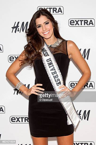 Miss Universe 2014 Paulina Vega visits Extra at their New York studios at H&M in Times Square on January 28, 2015 in New York City.
