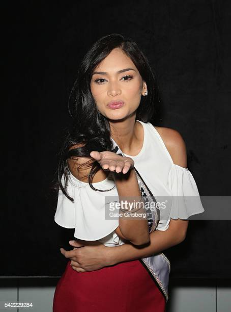 Miss Universe 2015 Pia Alonzo Wurtzbach blows a kiss at the WMEIMG booth during the Licensing Expo 2016 at the Mandalay Bay Convention Center on June...