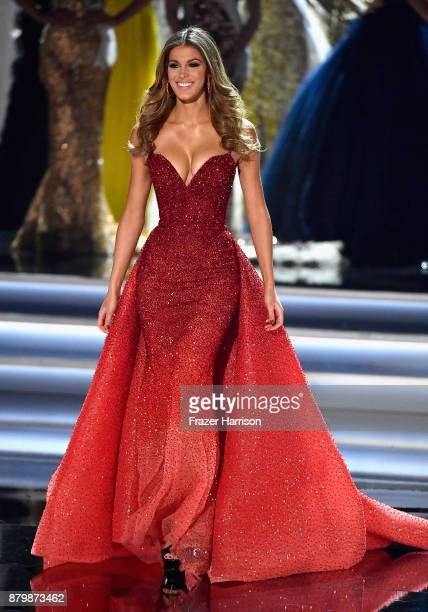 Miss Universe 2016 Iris Mittenaere appears during the 2017 Miss Universe Pageant at The Axis at Planet Hollywood Resort Casino on November 26 2017 in...