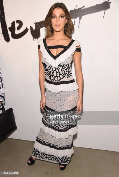 Miss Universe 2016 Iris Mittenaere attends the Nicole Miller fashion show during February 2017 New York Fashion Week at Gallery 2 Skylight Clarkson...