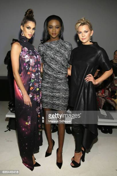 Miss Universe 2016 Iris Mittenaere Miss USA 2016 Deshauna Barber and Miss Teen USA 2016 Karlie Hay attend Fashion Hong Kong Fall/Winter 2017 during...