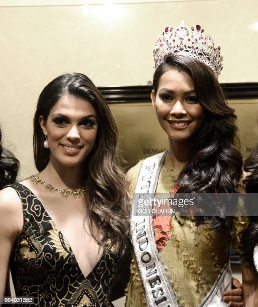 Miss Universe 2016 Iris Mittenaere of France poses with newly crowned Miss Indonesia/Universe Bunga Jelita Ibrani during a promotional event in...