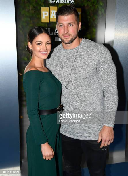 Miss Universe 2017 DemiLeigh NelPeters and Tim Tebow of ESPN attend the Party At The Playoff at The GlassHouse on January 5 2019 in San Jose...
