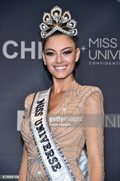 Miss Universe 2017 DemiLeigh NelPeters appears in the press room after the 2017 Miss Universe Pageant at The Axis at Planet Hollywood Resort Casino...