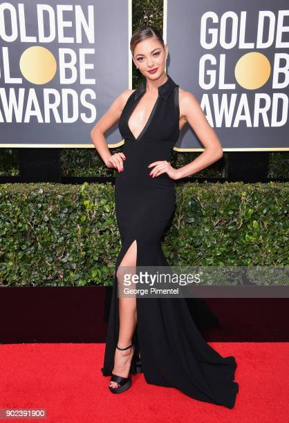 Miss Universe 2017 Demi-Leigh Nel-Peters attends The 75th Annual Golden Globe Awards at The Beverly Hilton Hotel on January 7, 2018 in Beverly Hills,...