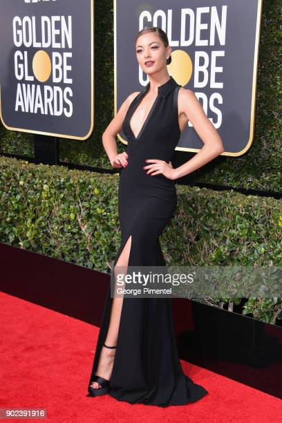 Miss Universe 2017 DemiLeigh NelPeters attends The 75th Annual Golden Globe Awards at The Beverly Hilton Hotel on January 7 2018 in Beverly Hills...