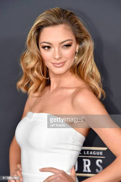 Miss Universe 2017 DemiLeigh NelPeters attends the NFL Honors at University of Minnesota on February 3 2018 in Minneapolis Minnesota