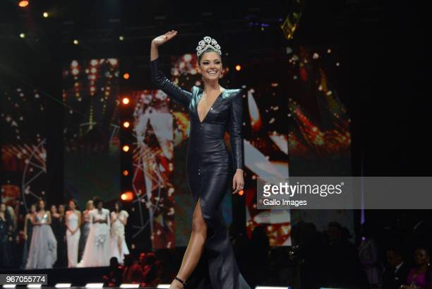 Miss Universe 2017 DemiLeigh NelPeters during the Miss SA 2018 beauty pageant grand finale at the Time Square Sun Arena on May 27 2018 in Pretoria...