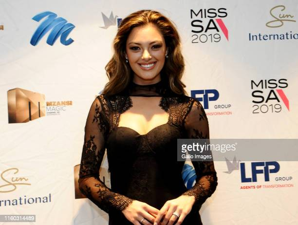 Miss Universe 2017 DemiLeigh NelPeters during the Miss SA 2019 press conference at Sun Arena Time Square on August 08 2019in Pretoria South Africa...