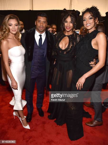 Miss Universe 2017 DemiLeigh NelPeters Russell Wilson Recording Artist Ciara and Miss USA Kara McCullough attend the NFL Honors at University of...