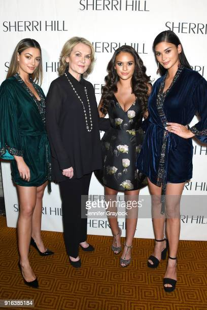 Miss Universe 2017 DemiLeigh NelPeters Sherri Hill Madison Pettis and Pia Wurtzbach attend the NYFW Sherri Hill Runway Show on February 9 2018 in New...