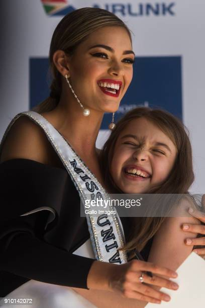Miss Universe 2017 DemiLeigh NelPeters with Keira Niwinski at the Cell C Connect Centre Waterfall Campus on January 24 2018 in Midrand South Africa...