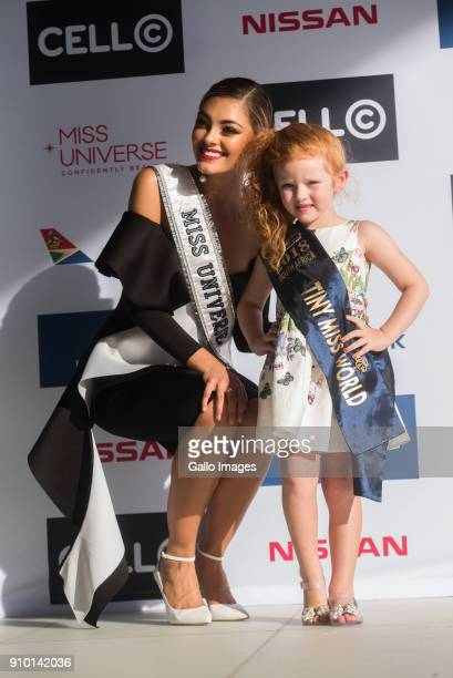 Miss Universe 2017 Demi-Leigh Nel-Peters with Tiny Miss World Marunique Meyer at the Cell C Connect Centre, Waterfall Campus on January 24, 2018 in...