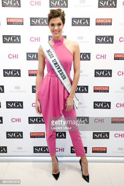 Miss Universe 2017 Iris Mittenaere attends for the presentation of the products CHI and BIOSILK of the group Farouk Systems the sponsor Miss Universe...