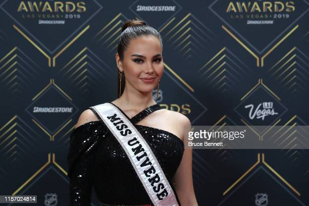 Miss Universe 2018 Catriona Gray arrives at the 2019 NHL Awards at the Mandalay Bay Events Center on June 19 2019 in Las Vegas Nevada