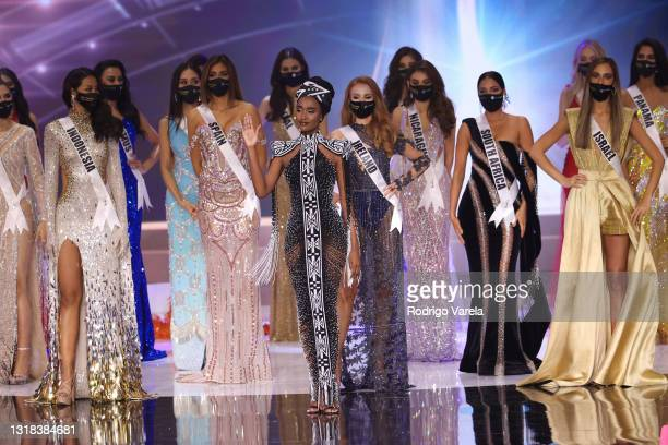 Miss Universe 2019 Zozibini Tunzi appears onstage at the 69th Miss Universe competition at Seminole Hard Rock Hotel & Casino on May 16, 2021 in...