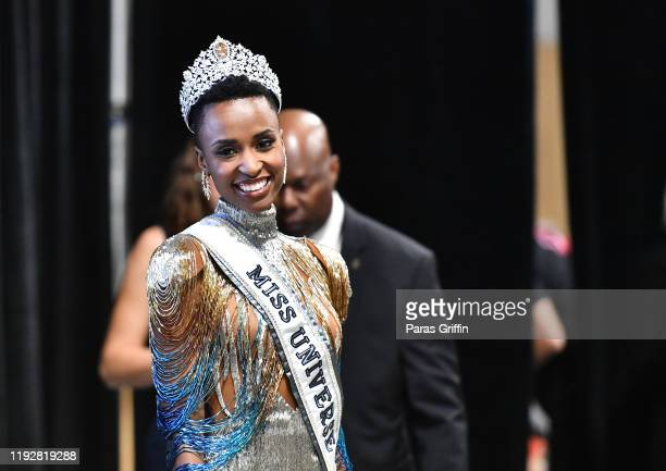 Miss Universe 2019 Zozibini Tunzi of South Africa appears at a press conference following the 2019 Miss Universe Pageant at Tyler Perry Studios on...