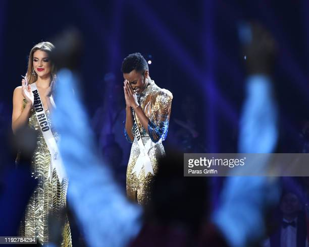 Miss Universe 2019 Zozibini Tunzi of South Africa appears onstage at the 2019 Miss Universe Pageant at Tyler Perry Studios on December 08 2019 in...