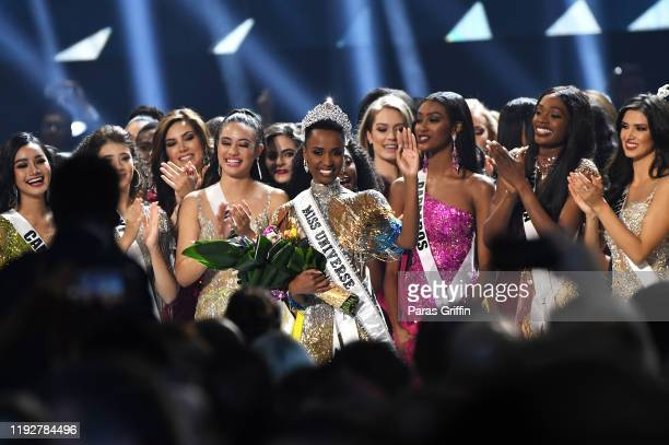 Miss Universe 2019 Zozibini Tunzi of South Africa is crowned onstage at the 2019 Miss Universe Pageant at Tyler Perry Studios on December 08 2019 in...