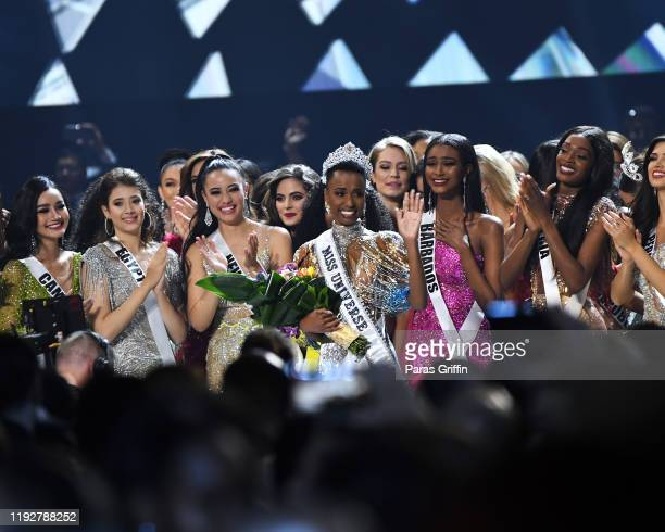 Miss Universe 2019 Zozibini Tunzi, of South Africa, is crowned onstage at the 2019 Miss Universe Pageant at Tyler Perry Studios on December 08, 2019...