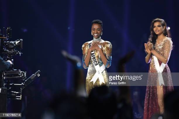 Miss Universe 2019 Zozibini Tunzi of South Africa just before she is crowned onstage at the 2019 Miss Universe Pageant at Tyler Perry Studios on...