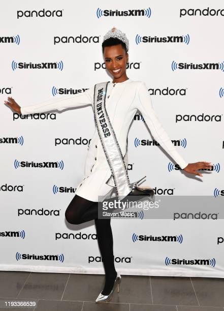 Miss Universe 2019 Zozibini Tunzi visits SiriusXM Studios on December 11, 2019 in New York City.