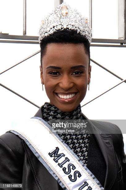 Miss Universe 2019 Zozibini Tunzi visits the Empire State Building on December 10 2019 in New York City