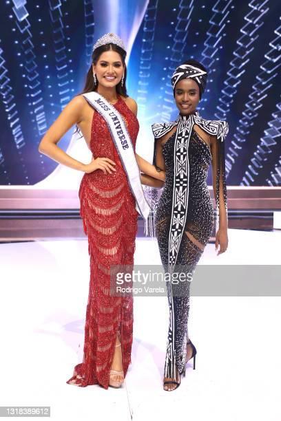 Miss Universe 2020 Andrea Meza and Miss Universe 2019 Zozibini Tunzi pose onstage at the 69th Miss Universe competition at Seminole Hard Rock Hotel &...