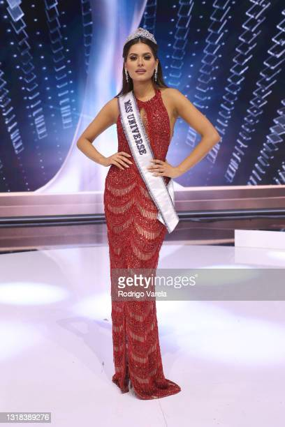 Miss Universe 2020 Andrea Meza poses onstage at the 69th Miss Universe competition at Seminole Hard Rock Hotel & Casino on May 16, 2021 in Hollywood,...