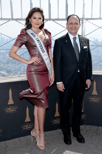 NY: Miss Universe Andrea Meza And Consul General Of Mexico In New York To Light The Empire State Building For Mexican Independence Day