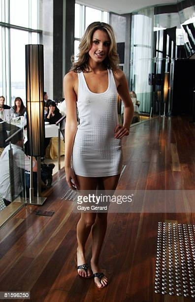 Miss Universe Australia 2008 Laura Dundovic showcases an outfit at Altitude at the ShangriLa Hotel on June 17 2008 in Sydney Australia Dundovic...