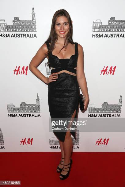 Miss Universe Australia 2013 Olivia Wells attends the VIP launch party for HM Australia at the GPO on April 3 2014 in Melbourne Australia