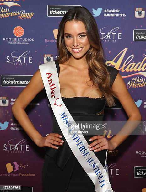 Miss Universe Australia Monika Radulovic arrives at Aladdin And His Wondrous Lamp opening night at the State Theatre on July 3 2015 in Sydney...
